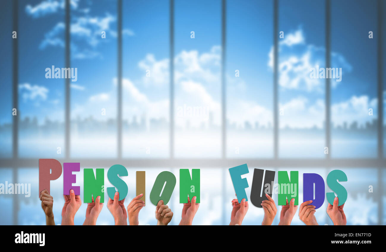 Composite image of hands holding up pension funds - Stock Image