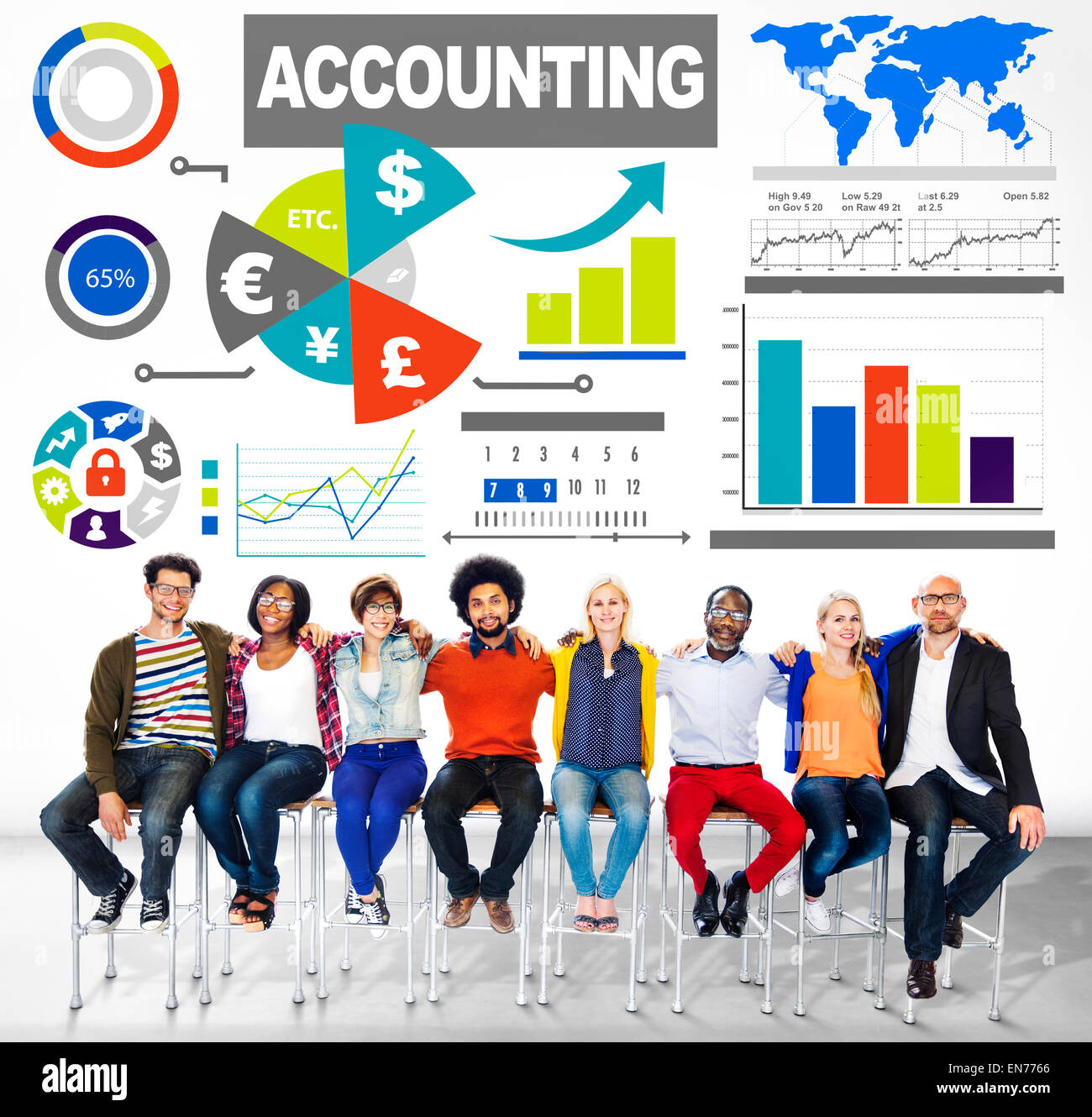 Accounting Analysis Banking Business Economy Financial Investment Concept - Stock Image