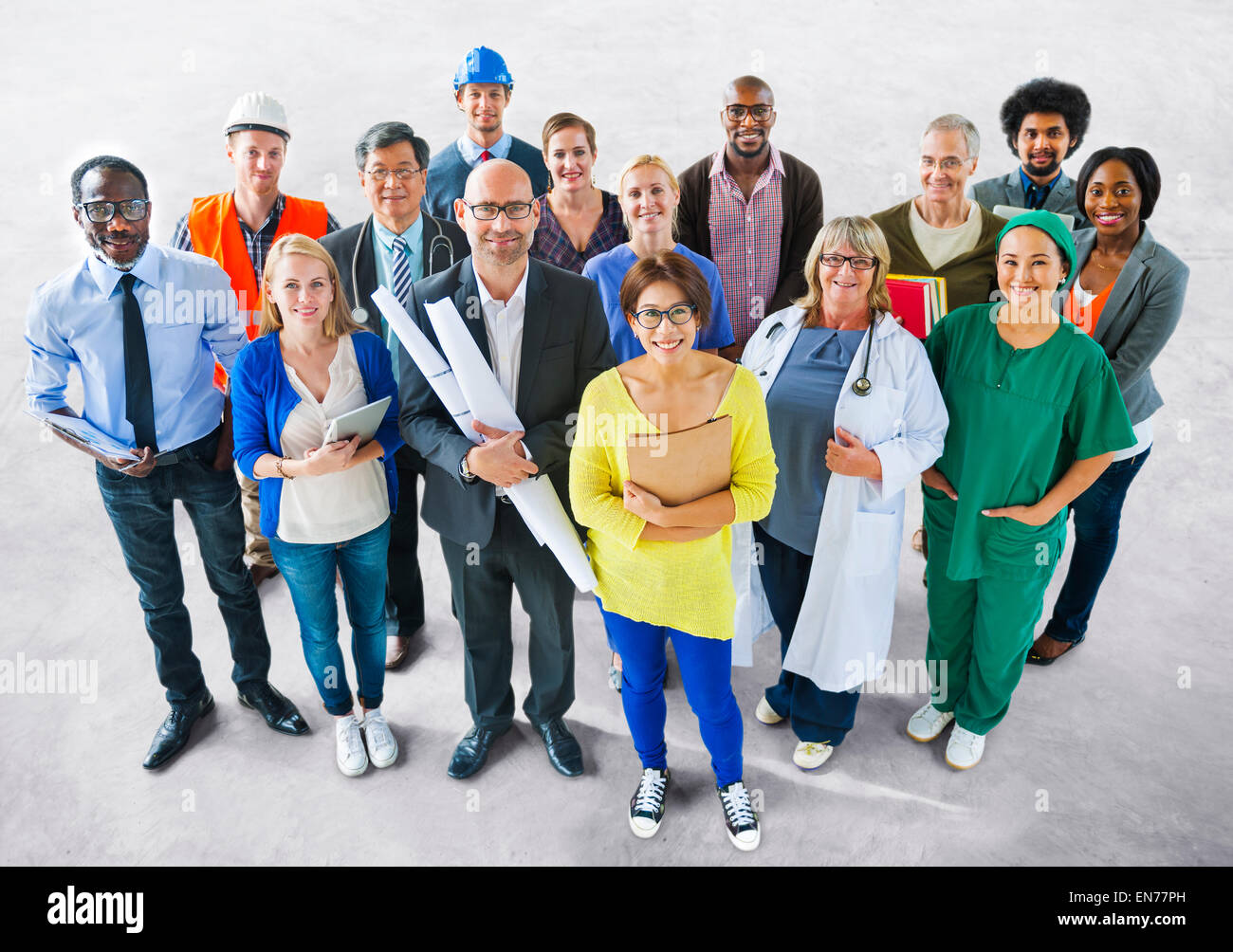 Diverse Multiethnic People with Different Jobs - Stock Image