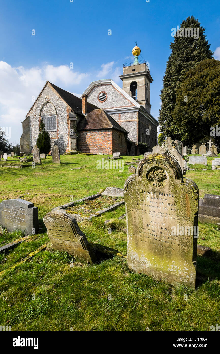 St Lawrence Church West Wycombe with its Golden Ball on the Tower - Stock Image