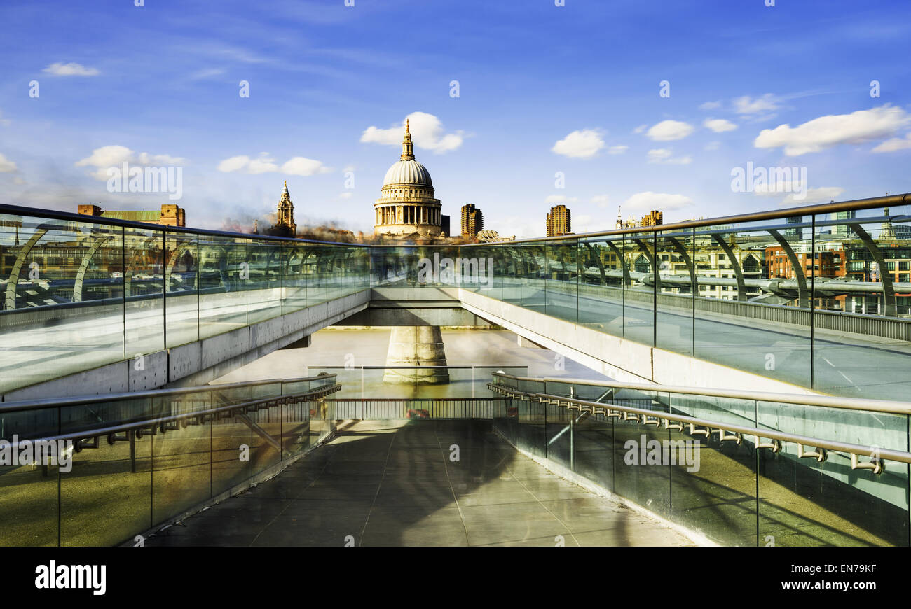 St Paul's Cathedral and the Millennium Bridge in London - Stock Image