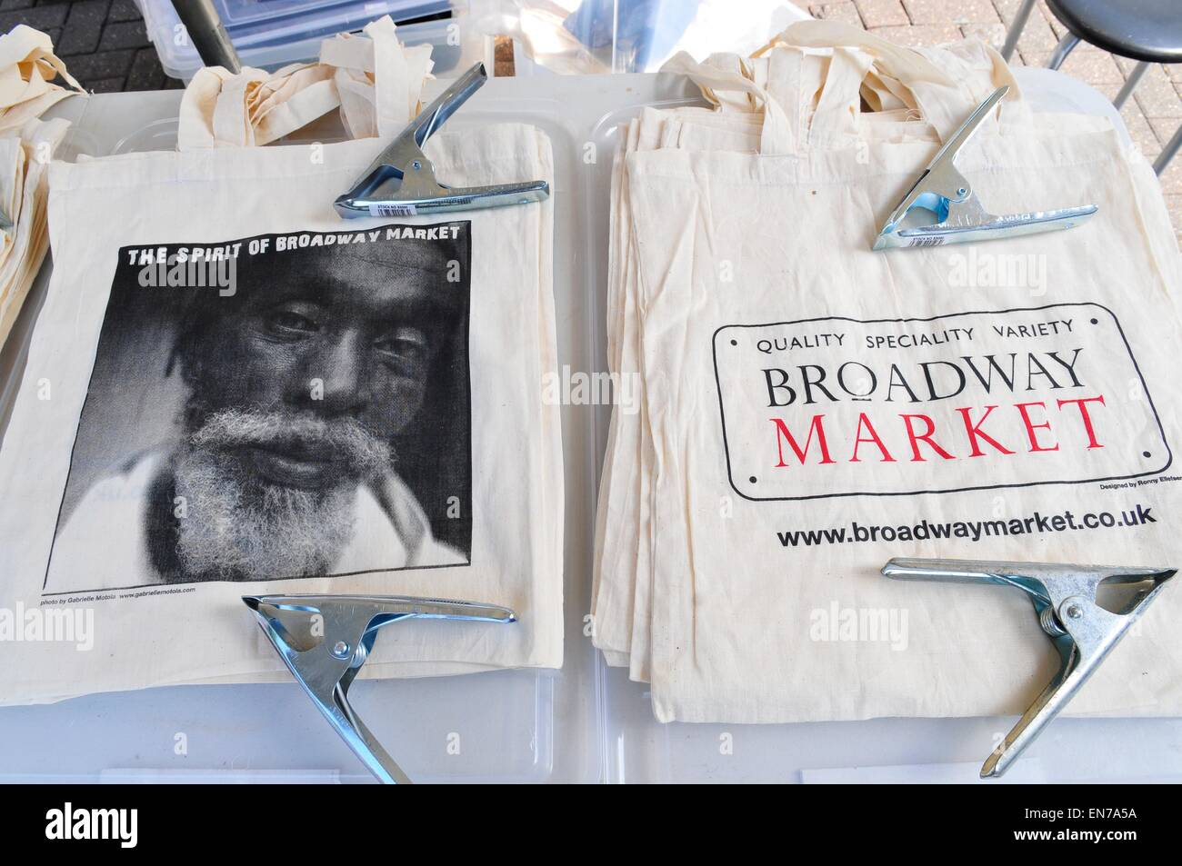 Hessian Bags in Broadway Market, London, England, UK - Stock Image