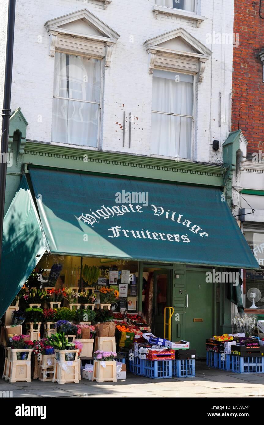 Highgate Village Fruiterers, Highgate, London, England, UK - Stock Image