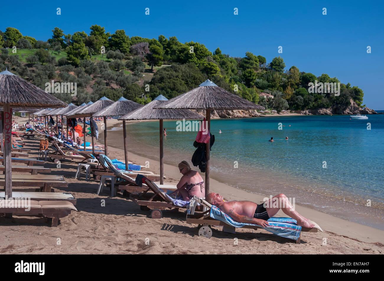 Troulos Beach, Skiathos. - Stock Image