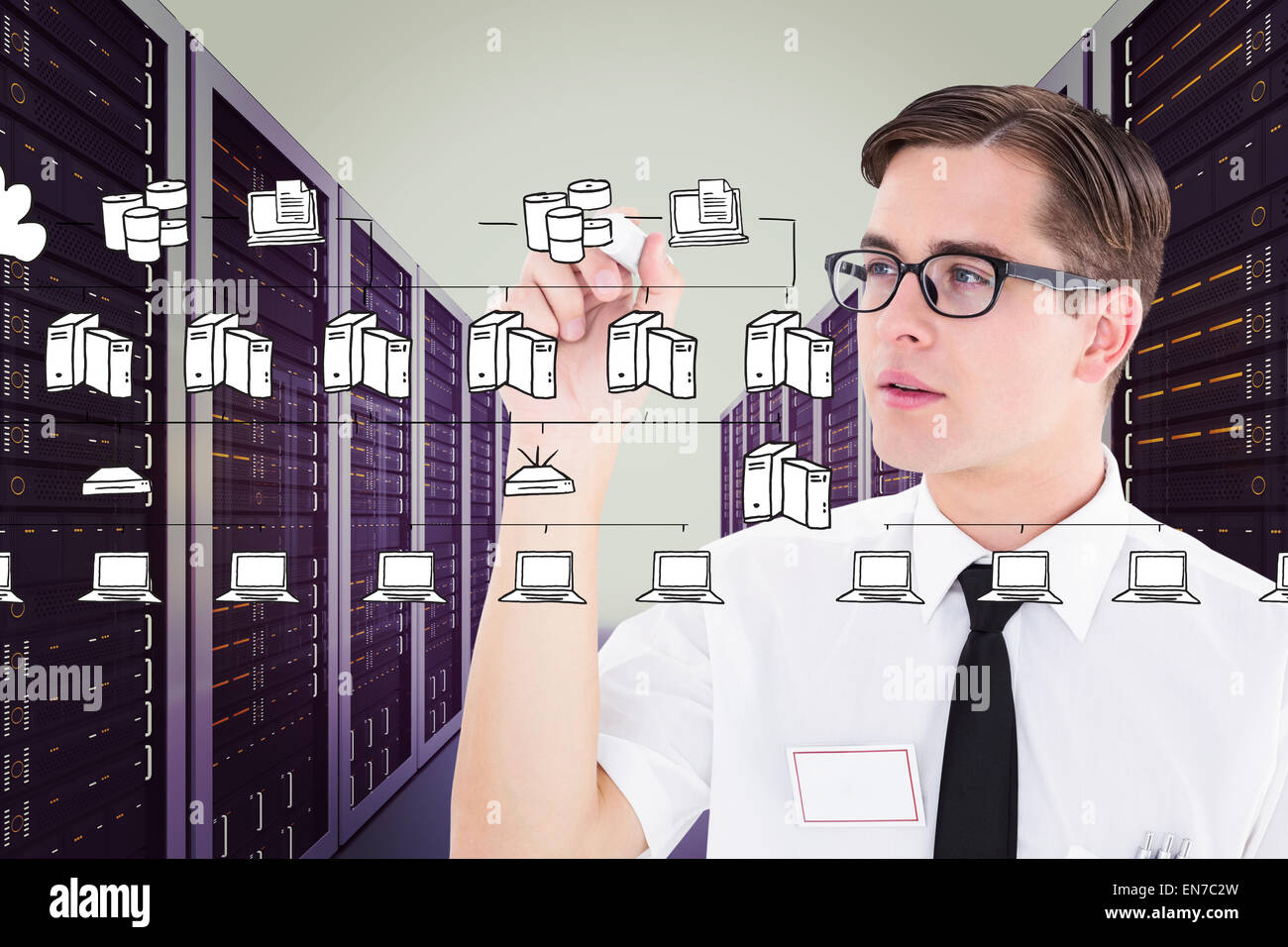 Composite image of geeky businessman writing with marker - Stock Image