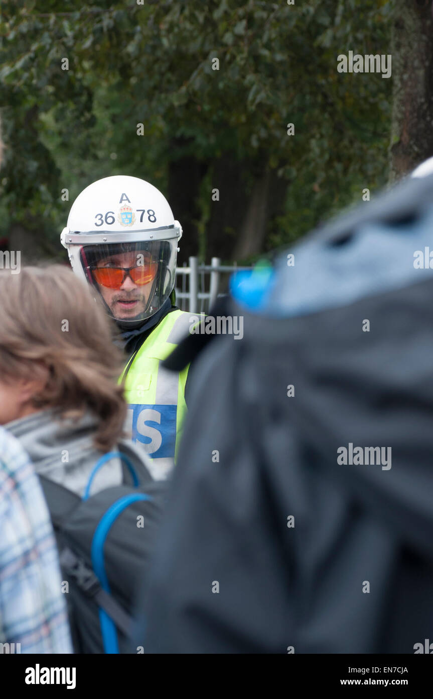 Stockholm, Sweden, August 30, 2014: Protests against Neo-Nazi demonstration. Stock Photo
