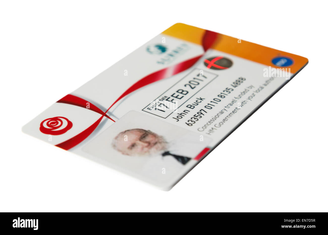 Senior person's bus pass concessionary travel card with photo from local authority for free travel on buses - Stock Image