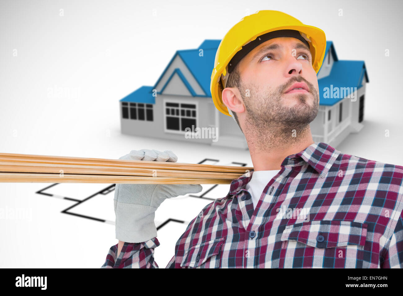 Composite image of handyman holding wood planks - Stock Image