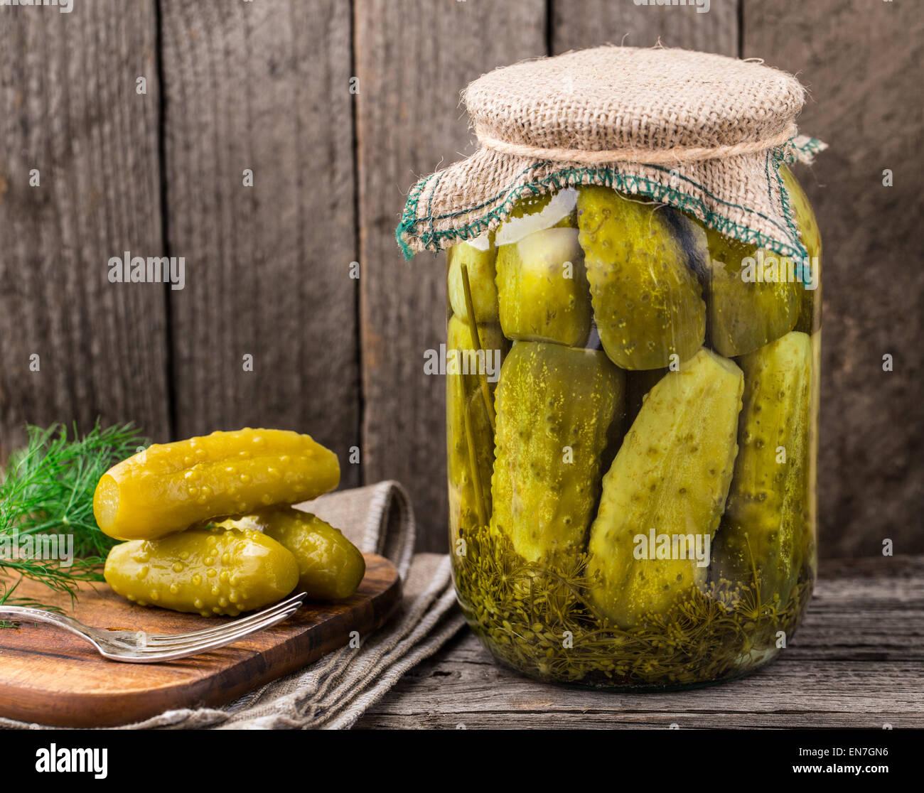 Jar of pickles - Stock Image