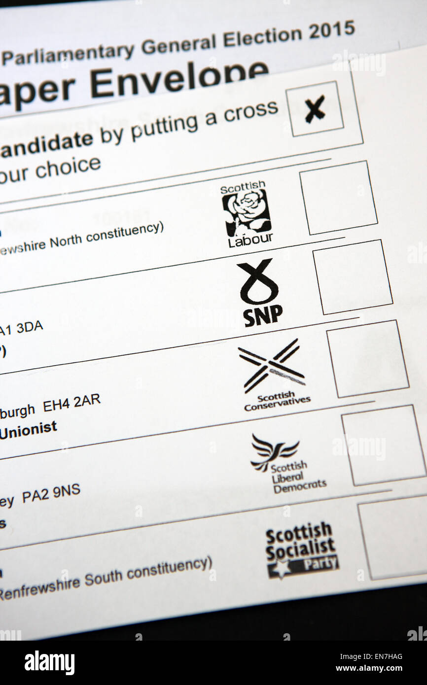 General Election 2015 ballot paper - Stock Image