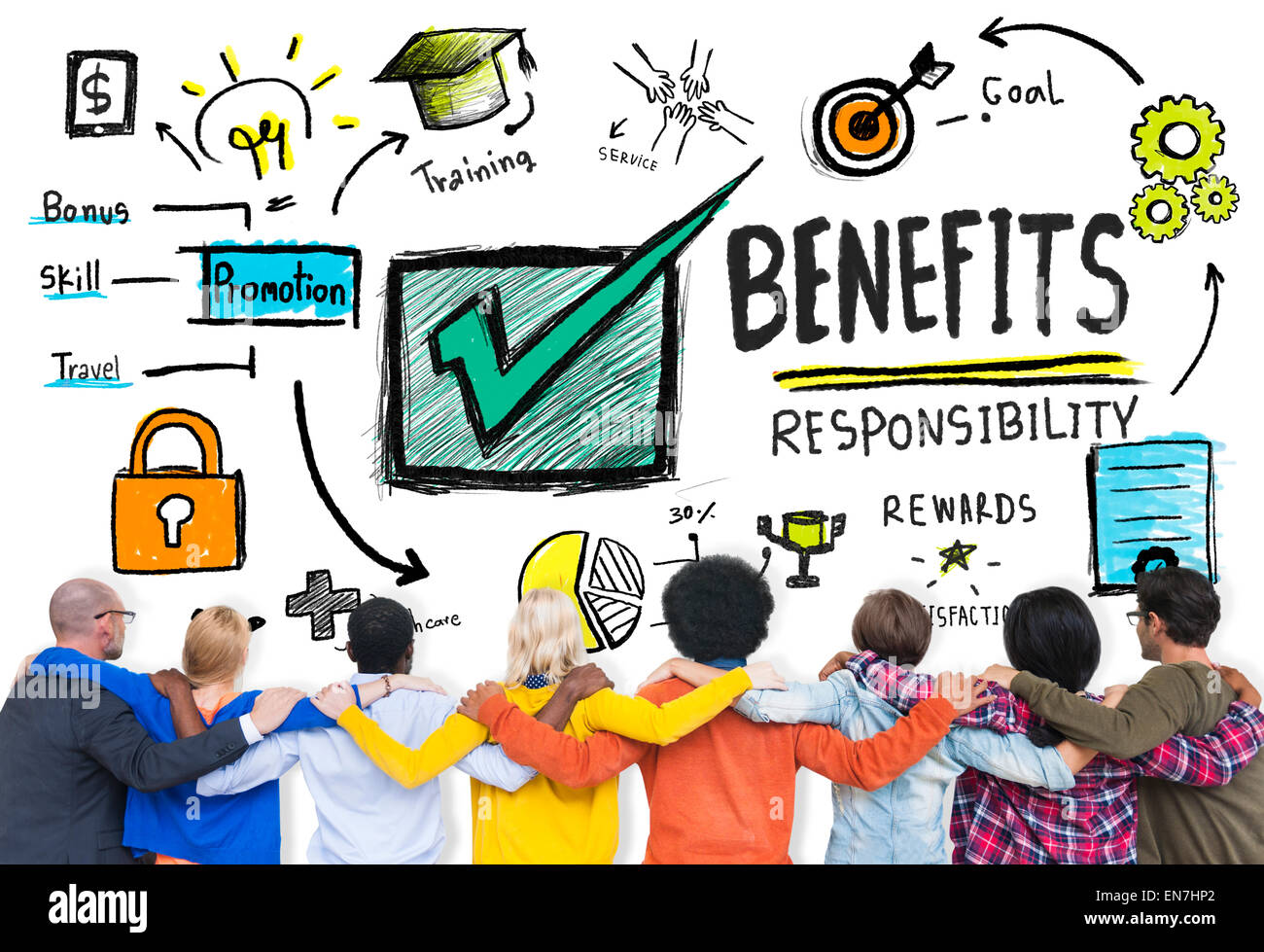 Benefits Gain Profit Earning Income People Friendship Concept - Stock Image