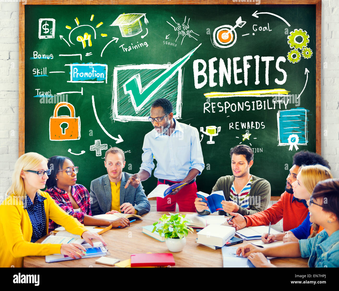 Benefits Gain Profit Earning Income Education Learning Concept - Stock Image