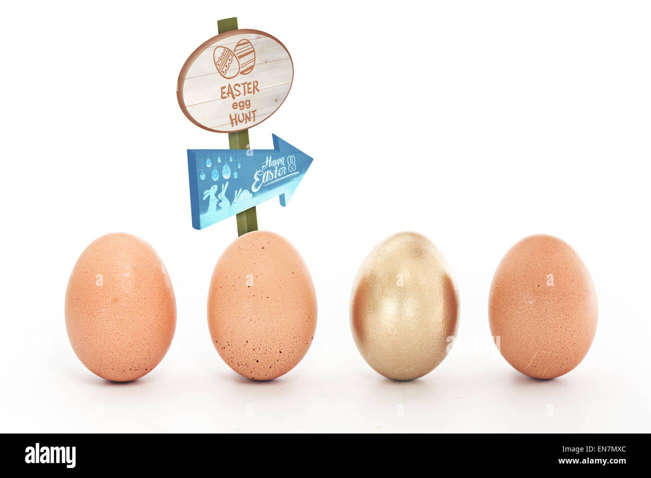 Composite image of easter egg hunt sign - Stock Image