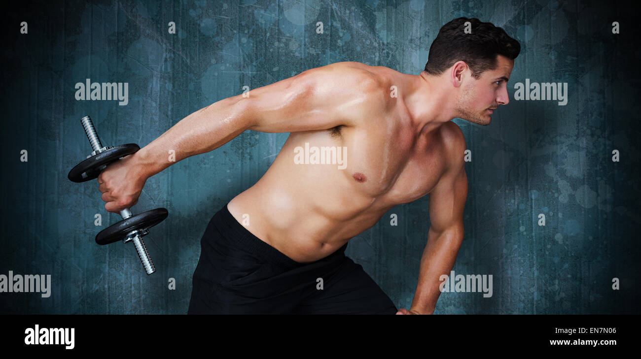 Composite image of bodybuilder lifting dumbbell - Stock Image