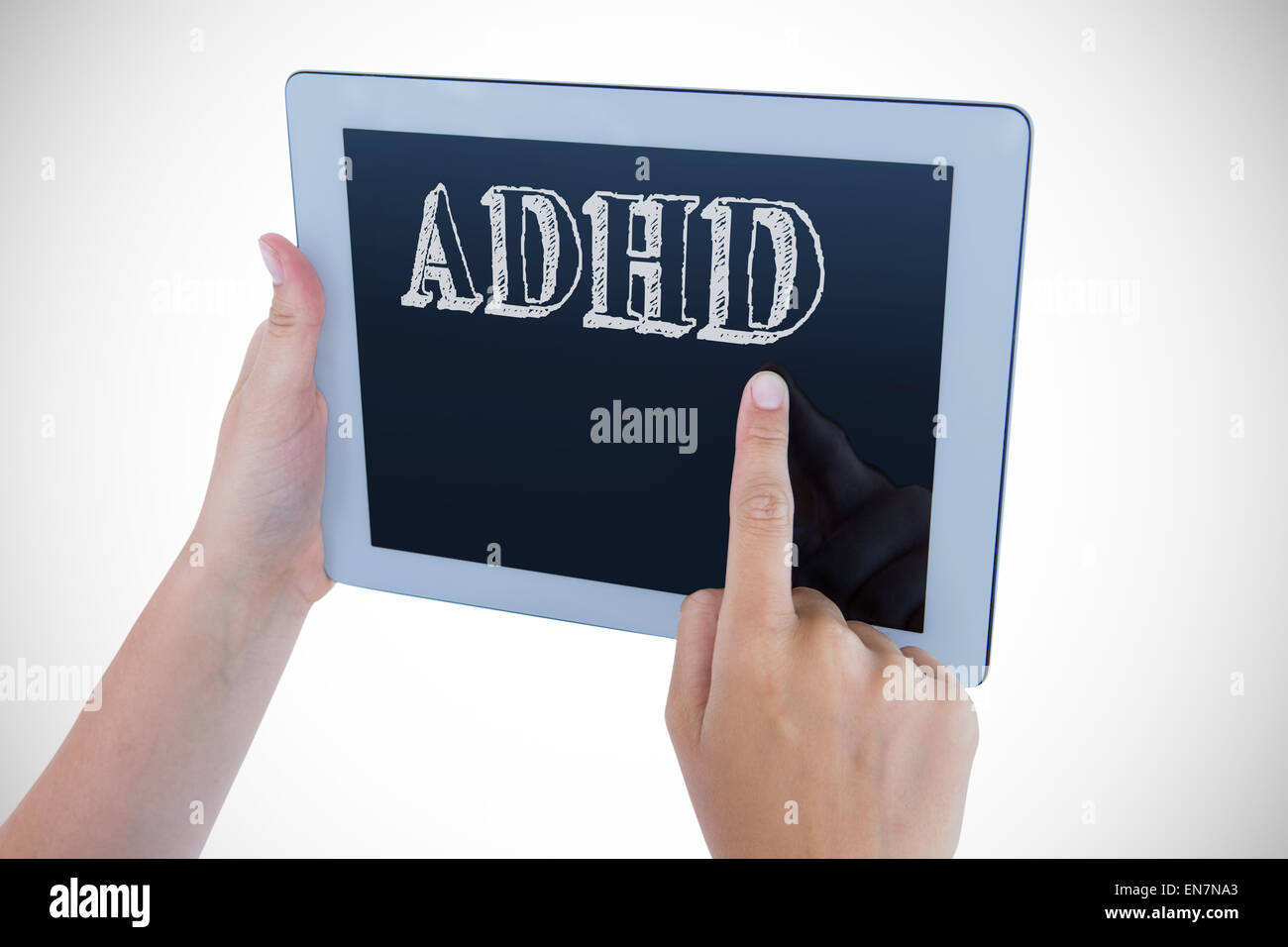 Adhd against woman using tablet pc - Stock Image