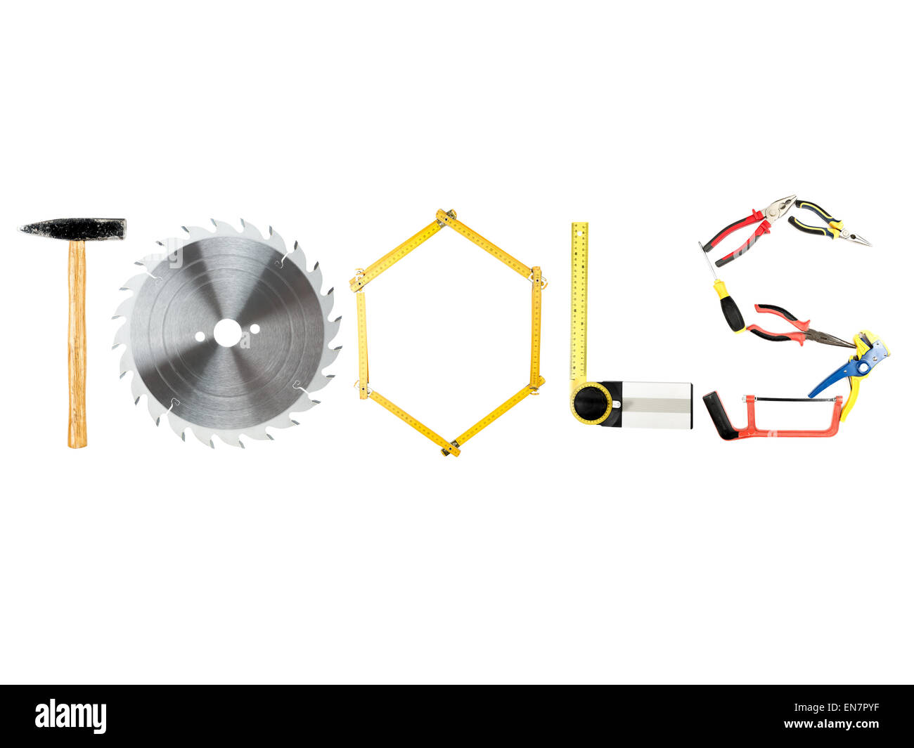 Various industrial tools arranged in TOOLS word on white - Stock Image