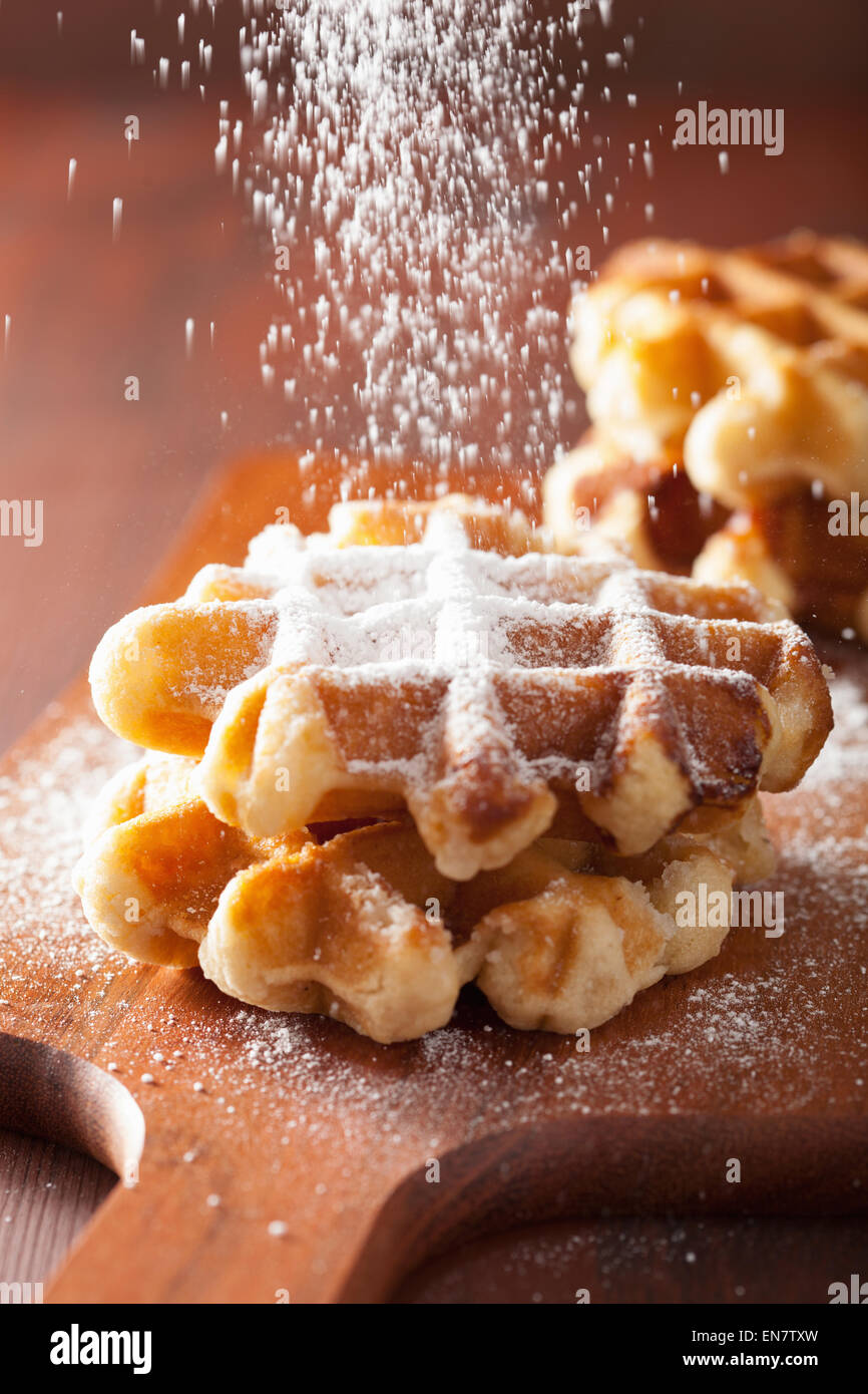 belgian waffles sprinkled with icing sugar - Stock Image
