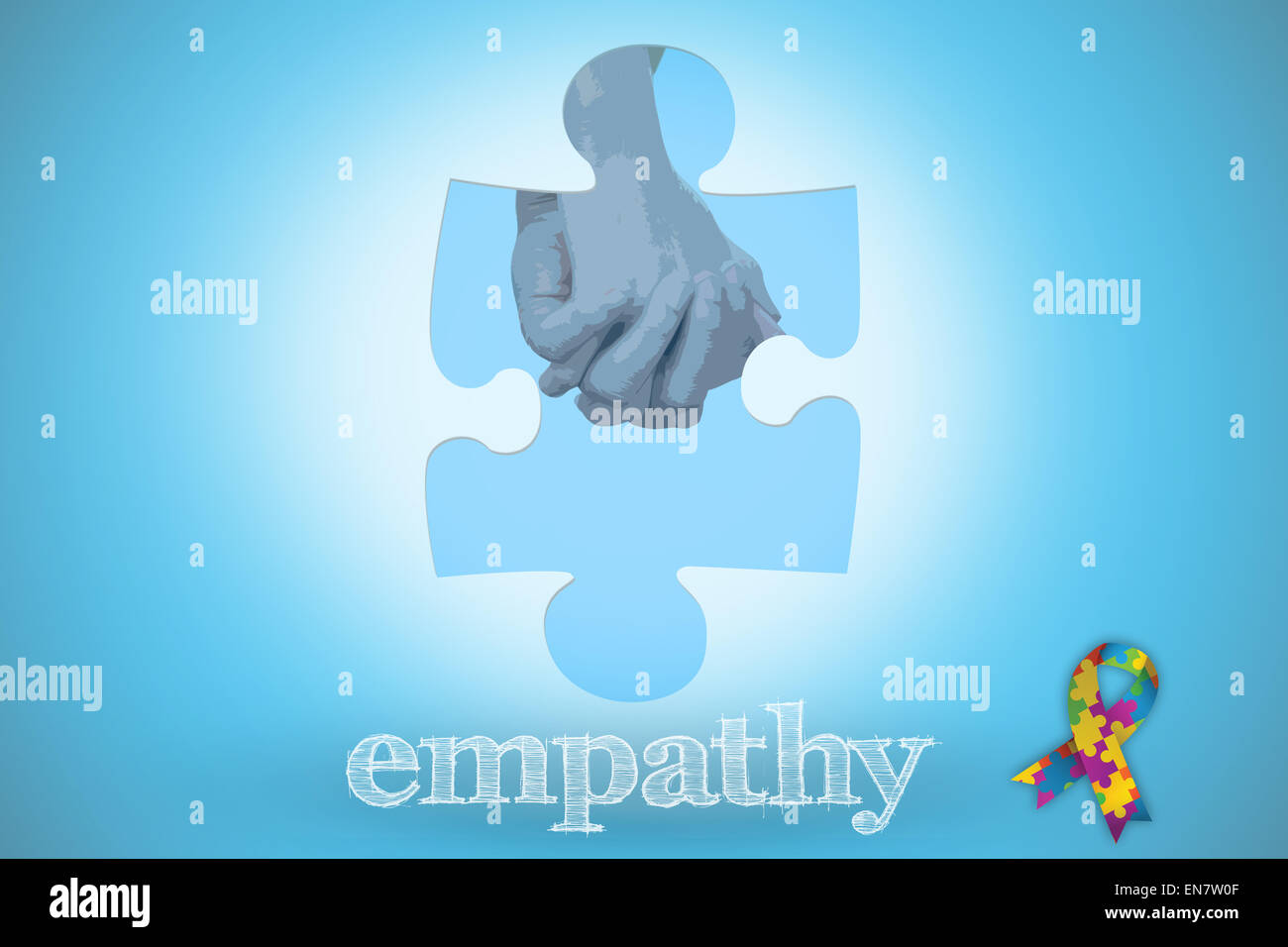 Empathy against blue background with vignette - Stock Image