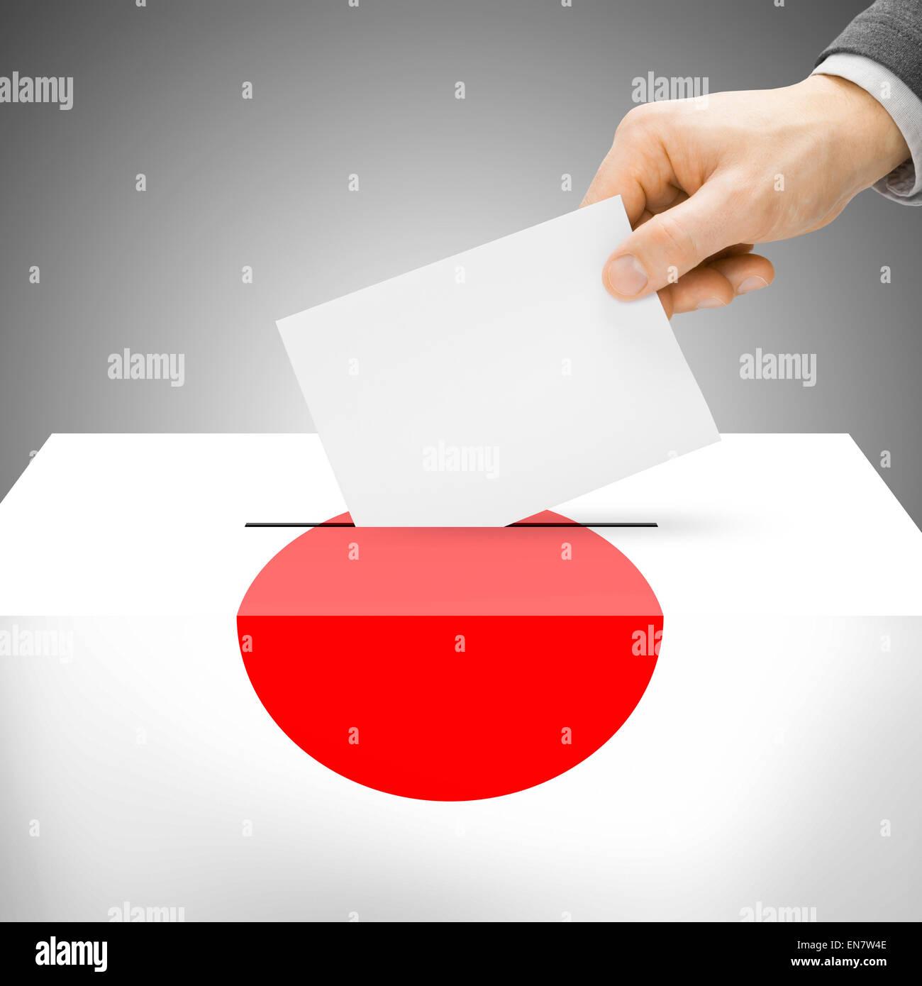 Ballot box painted into national flag colors - Japan Stock Photo