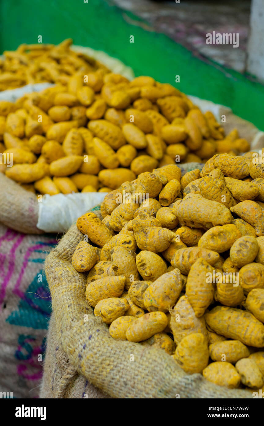 Sacks of turmeric root for sale at the market - Stock Image