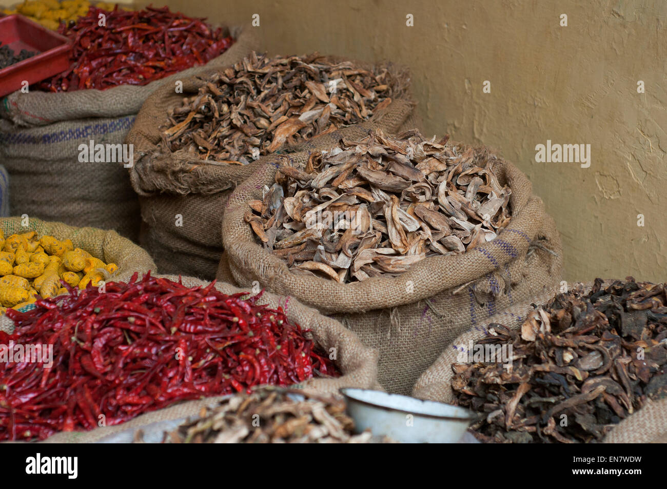 Sacks of dried foods at the market - Stock Image