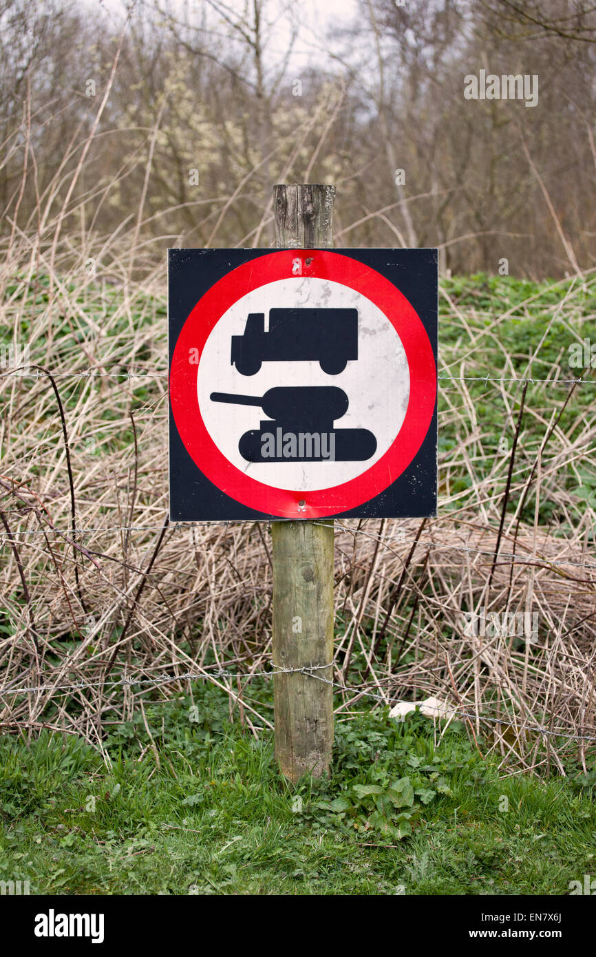 Military road sign near the village of Imber, Salisbury Plain, Wiltshire - Stock Image