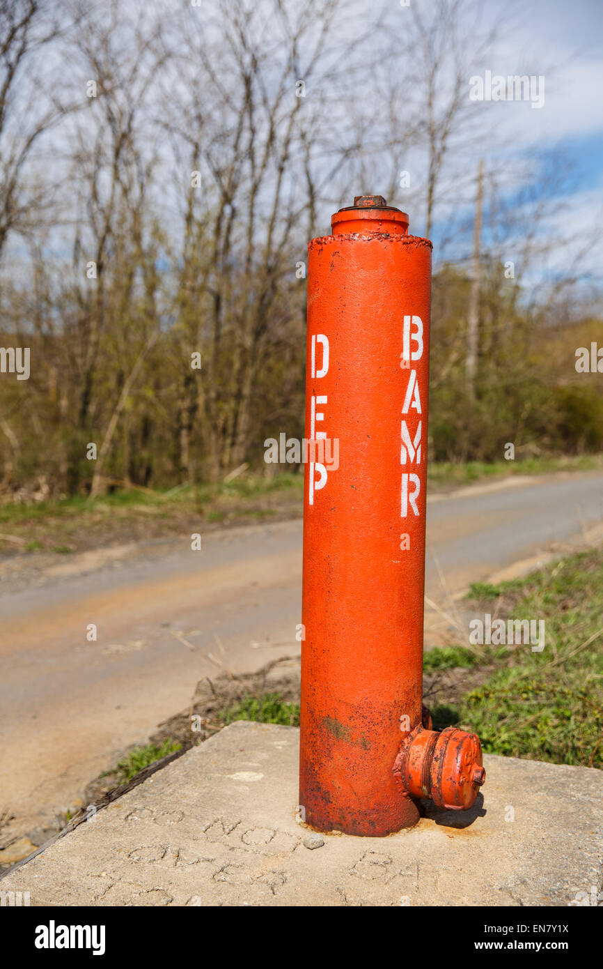 Capped borehole in Centralia, Pennsylvania where a mine fire that began in 1962 continues to burn to this day. - Stock Image