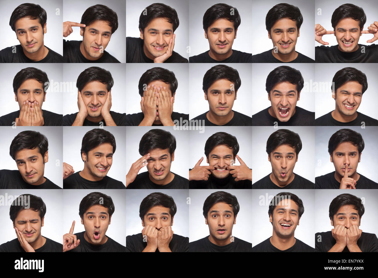 Multiple portraits of young mans face - Stock Image