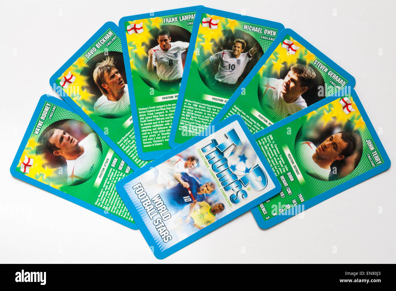 Top Trumps cards World Football Stars showing England players isolated on white background - Stock Image