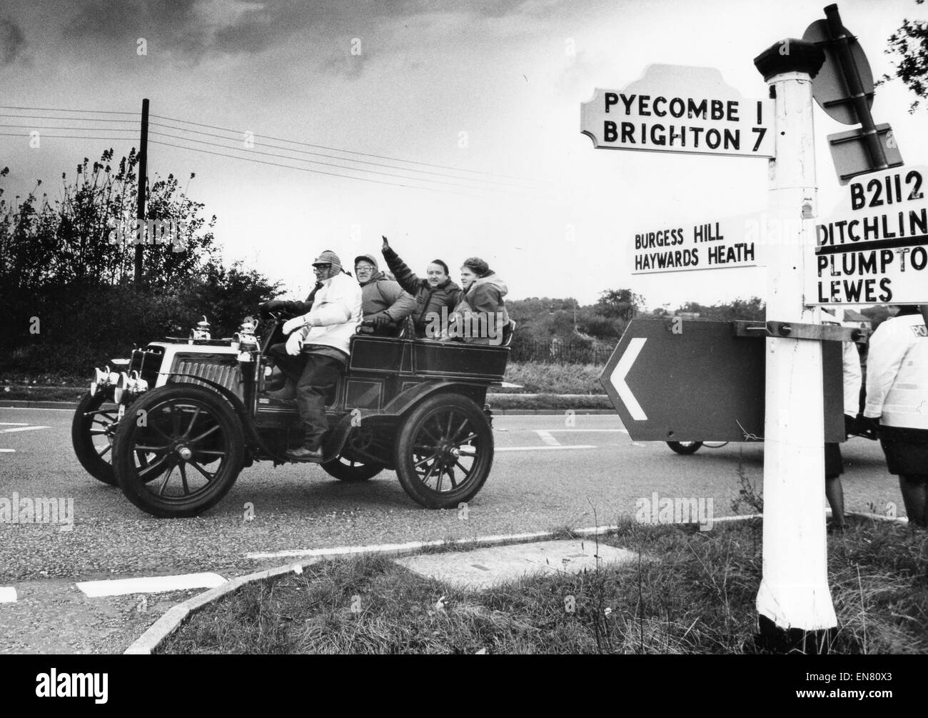 The London to Brighton Veteran Car Run with old vehicle on country ...