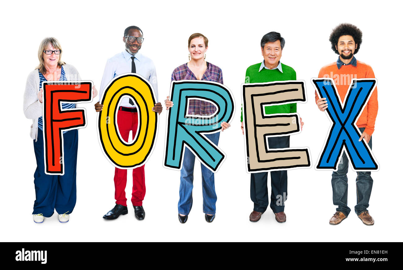 Group of People Standing Holding Forex Letter - Stock Image
