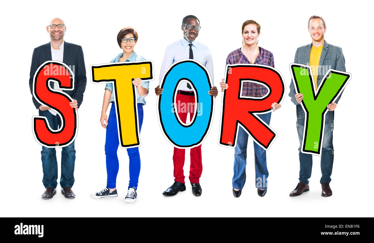 DIverse People Holding Text Story - Stock Image