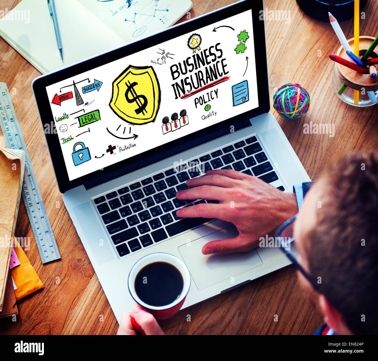 Laptop Technology Risk Business Insurance Concept Stock Photo