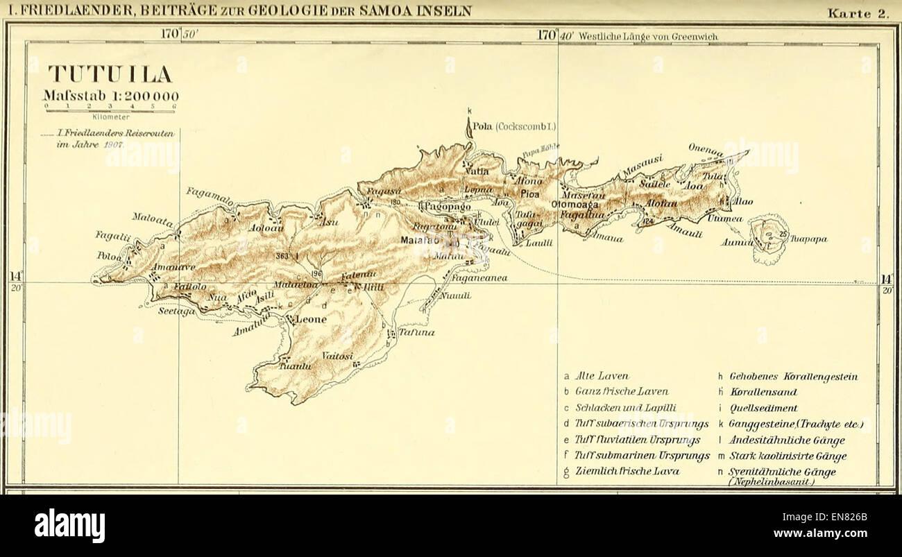 peip1910 map of tutuila island samoa stock image
