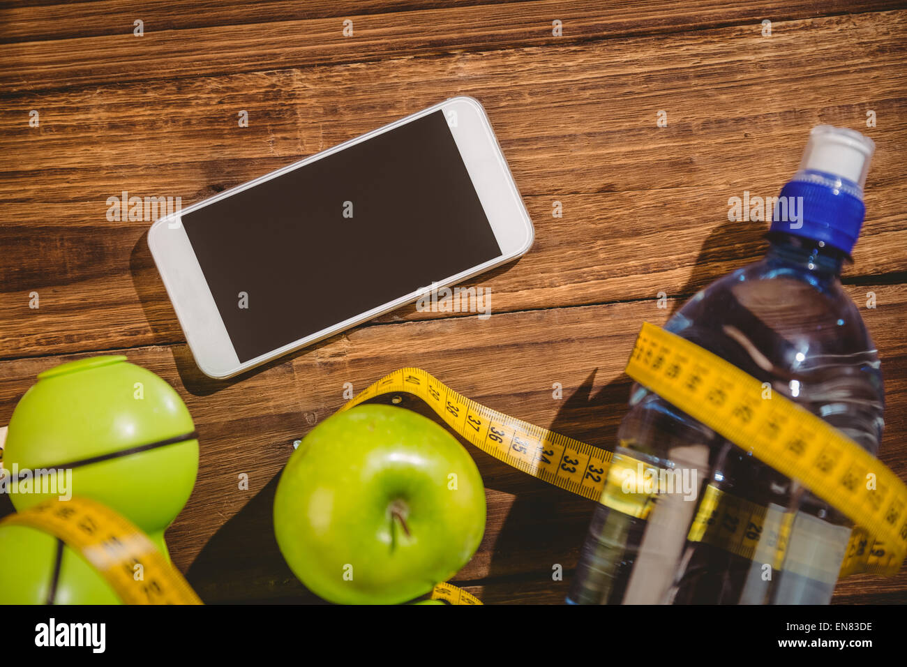 Smartphone with indicators of healthy lifestyle - Stock Image