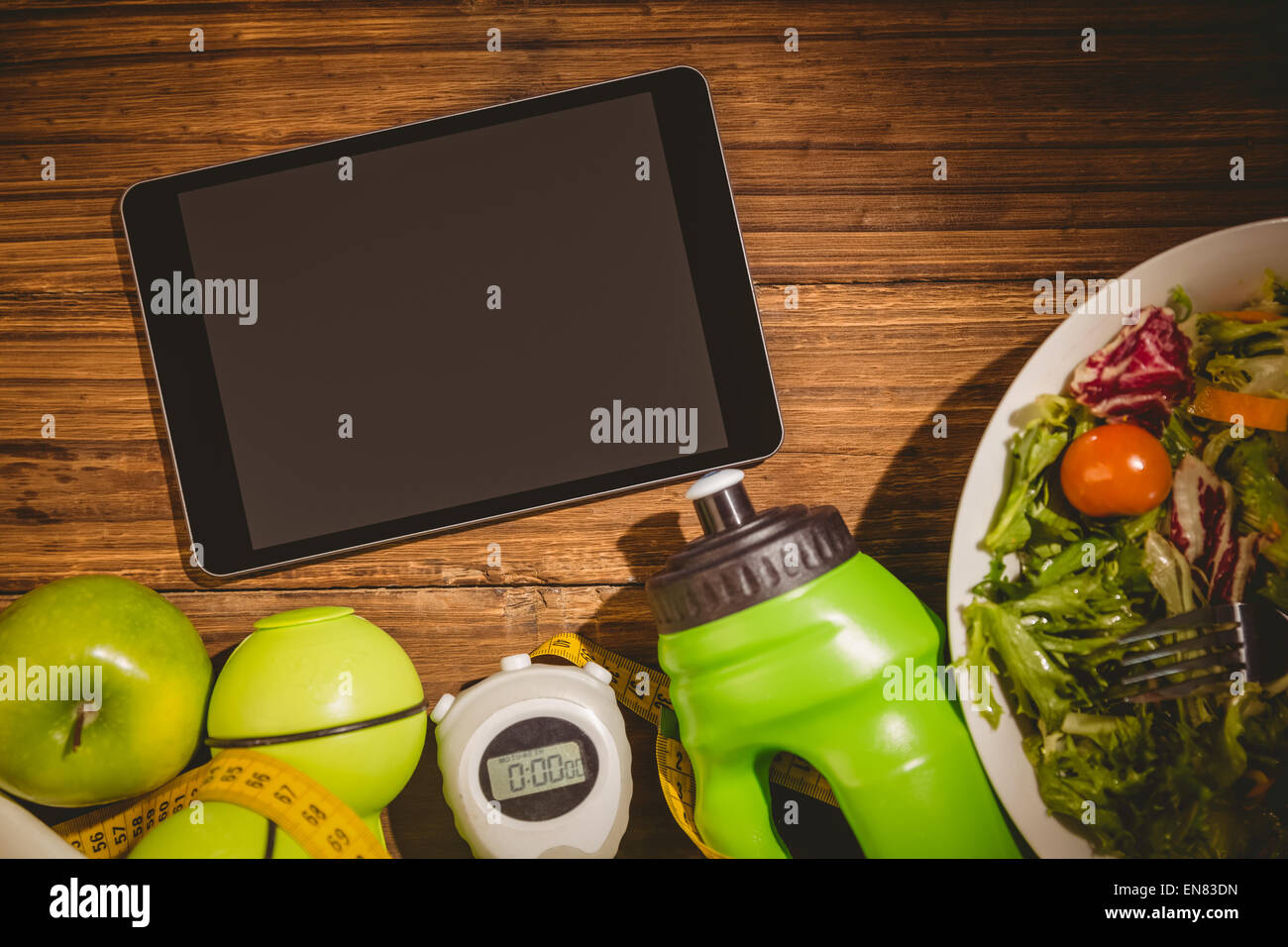 Tablet with indicators of healthy lifestyle - Stock Image
