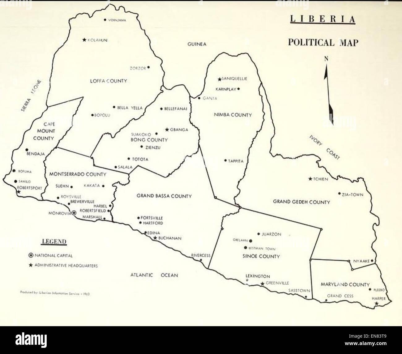 Picture of: U S Doc 1965 Liberia Political Map Stock Photo Alamy