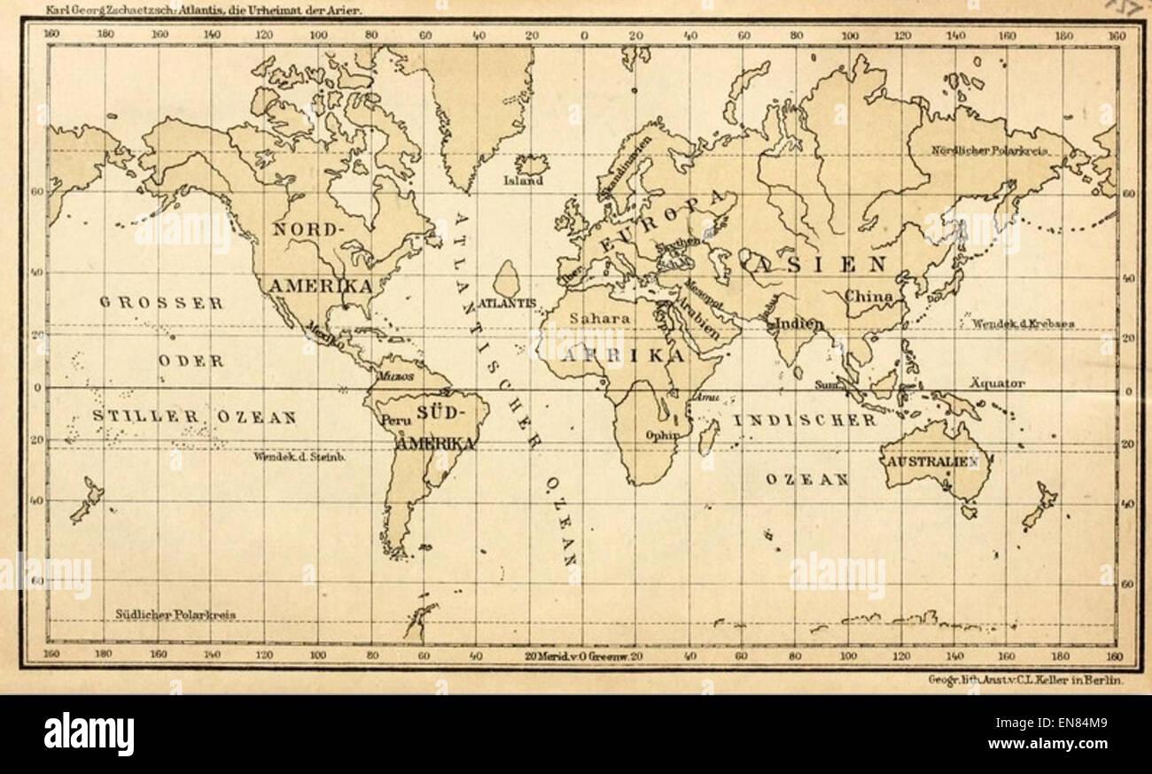atlantis karte ZSCHAETZSCH(1922) Karte von Atlantis im Atlantischen Ozean Stock