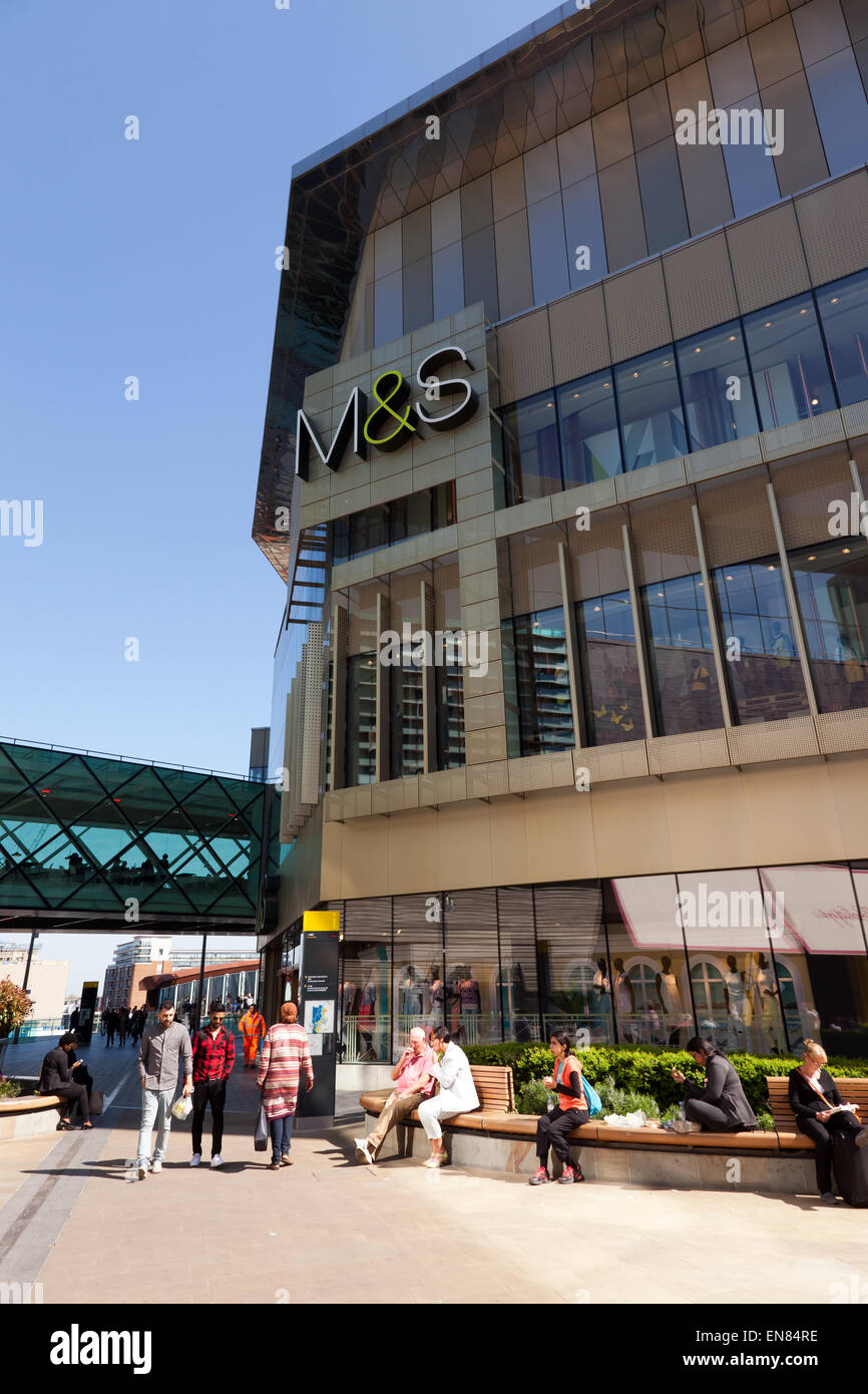 View of the Marks and Spencer Store at the giant Westfield Shopping Centre, Stratford City, Stratford, London Stock Photo