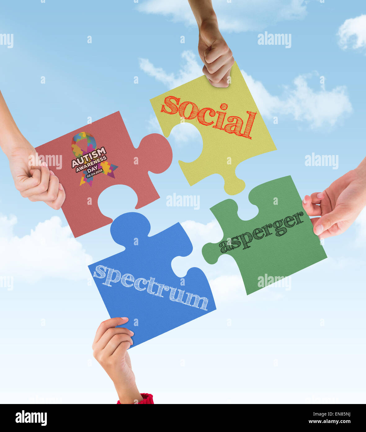 Composite image of autism awareness day - Stock Image