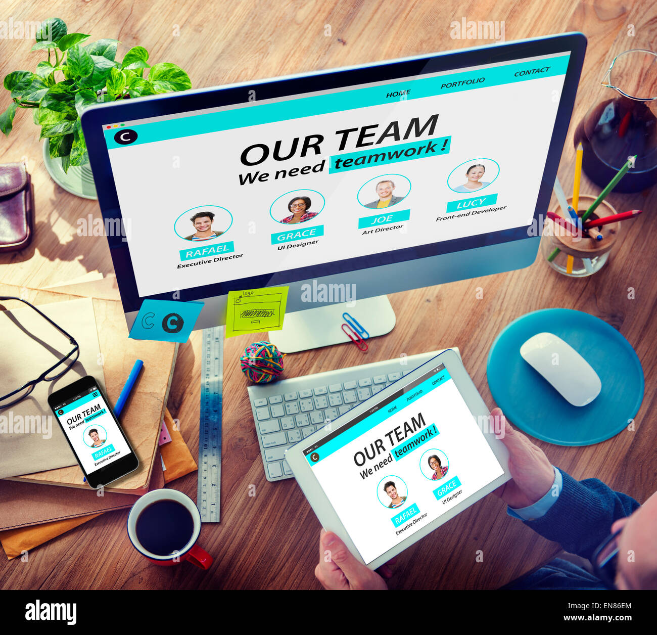 Man Working Computer Organization Team Building Solution Concept - Stock Image