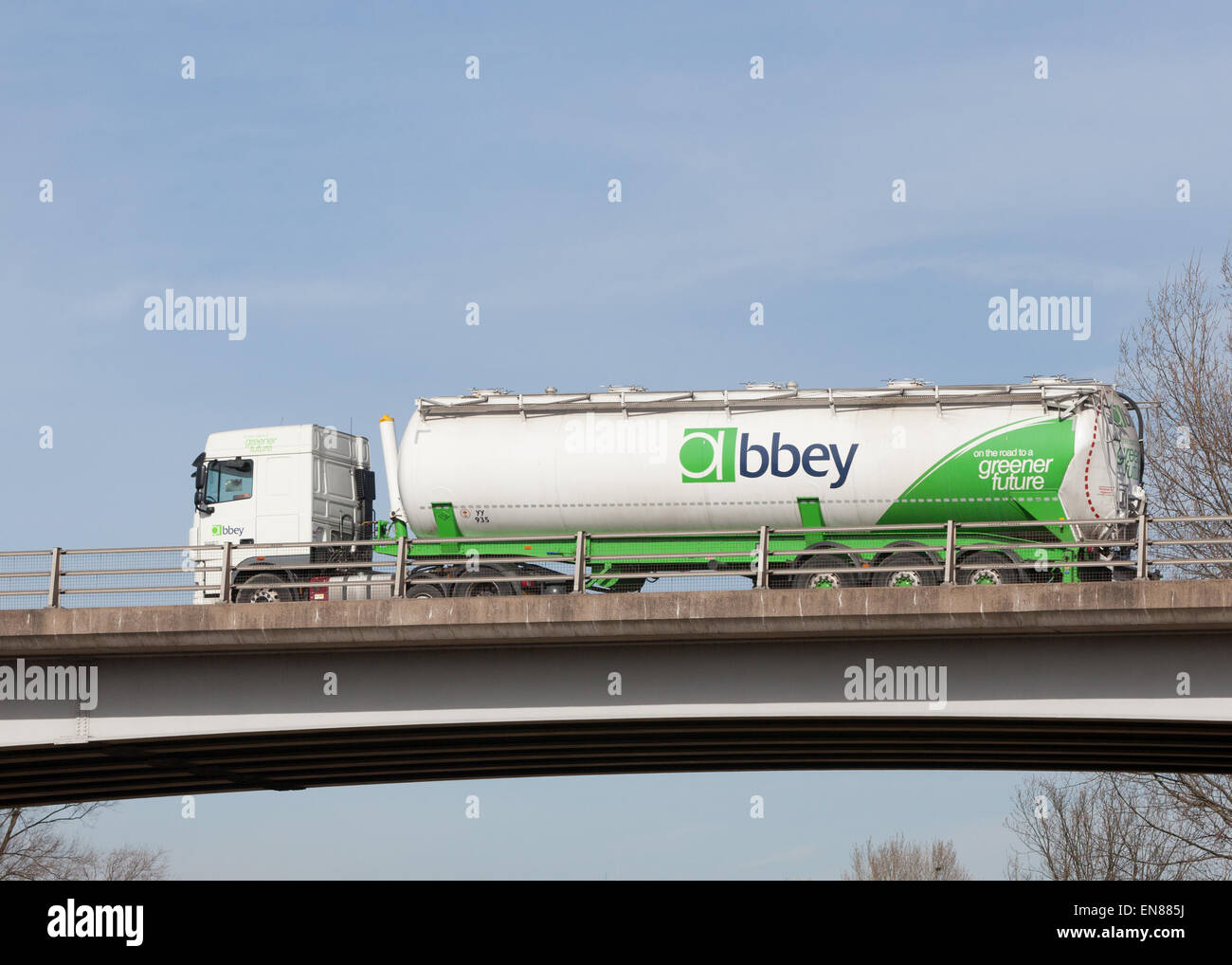 Abbey tanker travelling through the Midlands in the UK. - Stock Image