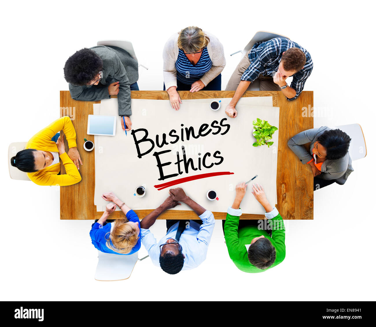 Multiethnic Group of People Discussing About Business Ethics - Stock Image