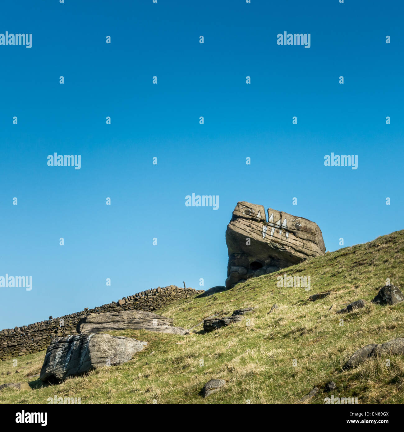 Rock monster graffiti - Stock Image