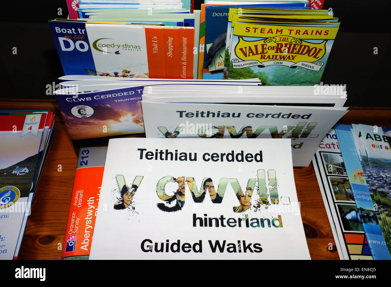 A selection of tourism brochures and leaflets on display in a Welsh Bed and Breakfast. - Stock Image