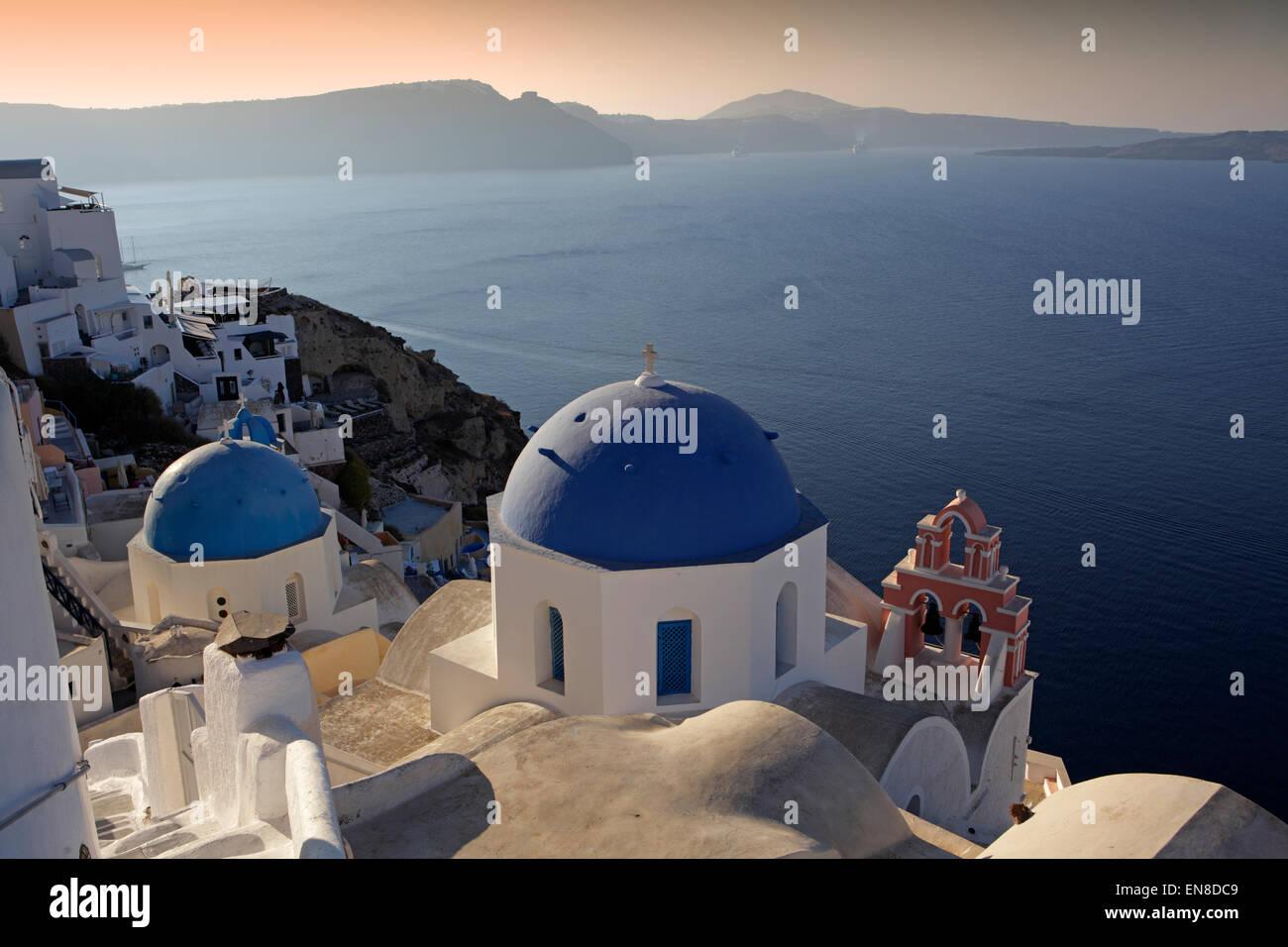Traditional church in Oia, Santorini, Greece - Stock Image