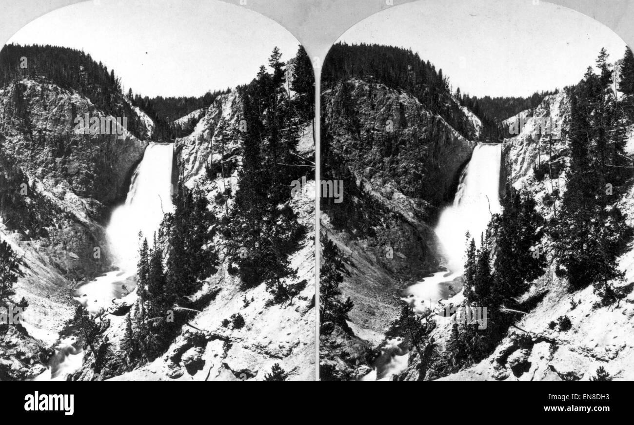 Yellowstone River Lower Falls  /<  by Harry Fenn  Print 1874