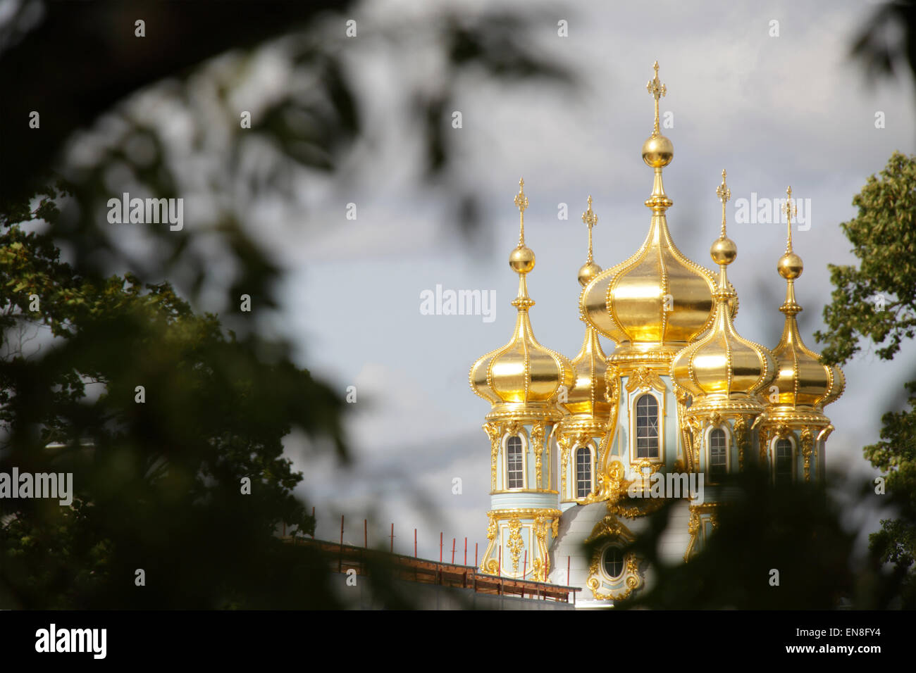 Golden dome of Catherine Palace, located in Tsarskoye Selo (Pushkin),Saint Petersburg, Russia - Stock Image