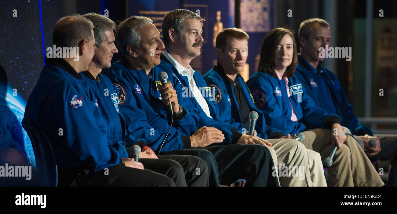 Former NASA astronaut Mike Massimino, second from left, speaks during a panel discussion as part of an event celebrating - Stock Image