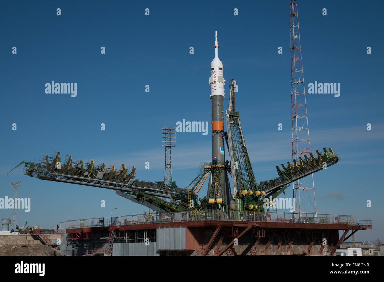 The Soyuz TMA-16M spacecraft is seen after is was rolled out by train to the launch pad at the Baikonur Cosmodrome, Stock Photo